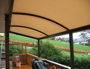 cream black tension canopy